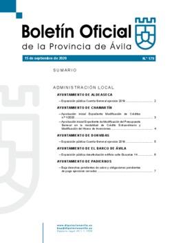 Boletín Oficial de la Provincia del martes, 15 de septiembre de 2020