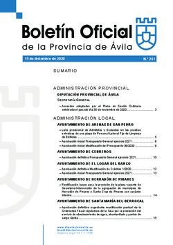 Boletín Oficial de la Provincia del martes, 15 de diciembre de 2020