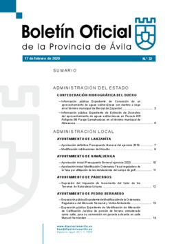 Boletín Oficial de la Provincia del lunes, 17 de febrero de 2020