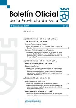 Boletín Oficial de la Provincia del jueves, 17 de septiembre de 2020