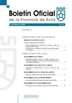 Boletín Oficial de la Provincia del martes, 18 de febrero de 2020