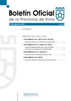 Boletín Oficial de la Provincia del martes, 18 de agosto de 2020