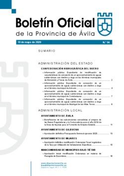 Boletín Oficial de la Provincia del martes, 19 de mayo de 2020