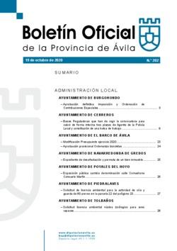 Boletín Oficial de la Provincia del lunes, 19 de octubre de 2020