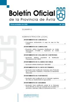 Boletín Oficial de la Provincia del jueves, 19 de noviembre de 2020
