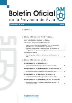 Boletín Oficial de la Provincia del lunes, 20 de enero de 2020