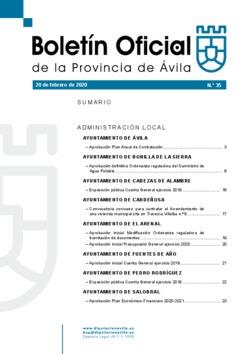 Boletín Oficial de la Provincia del jueves, 20 de febrero de 2020