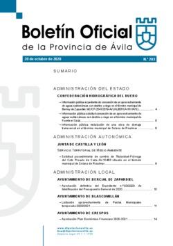 Boletín Oficial de la Provincia del martes, 20 de octubre de 2020