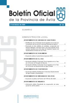 Boletín Oficial de la Provincia del viernes, 21 de febrero de 2020