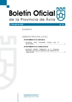 Boletín Oficial de la Provincia del martes, 21 de abril de 2020