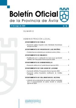 Boletín Oficial de la Provincia del jueves, 21 de mayo de 2020