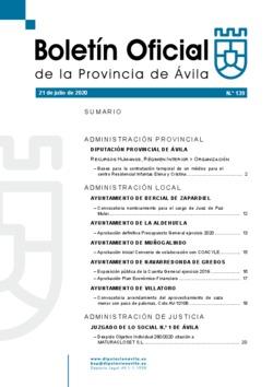 Boletín Oficial de la Provincia del martes, 21 de julio de 2020