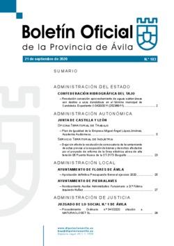 Boletín Oficial de la Provincia del lunes, 21 de septiembre de 2020