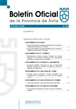 Boletín Oficial de la Provincia del miércoles, 22 de julio de 2020