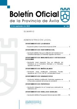Boletín Oficial de la Provincia del martes, 22 de septiembre de 2020