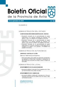 Boletín Oficial de la Provincia del miércoles, 23 de septiembre de 2020