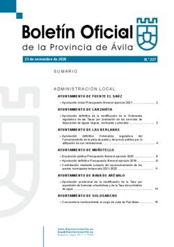 Boletín Oficial de la Provincia del lunes, 23 de noviembre de 2020