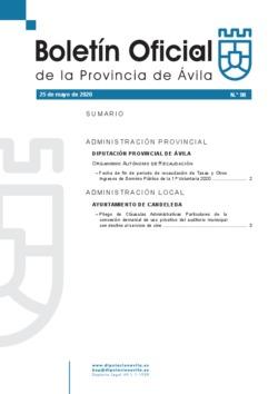 Boletín Oficial de la Provincia del lunes, 25 de mayo de 2020