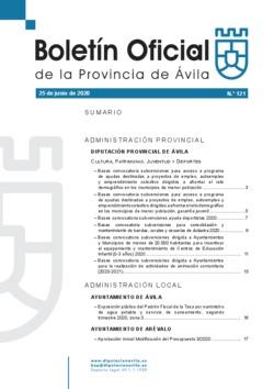 Boletín Oficial de la Provincia del jueves, 25 de junio de 2020