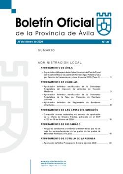 Boletín Oficial de la Provincia del miércoles, 26 de febrero de 2020