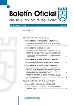 Boletín Oficial de la Provincia del lunes, 26 de octubre de 2020