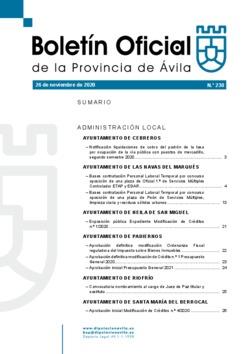 Boletín Oficial de la Provincia del jueves, 26 de noviembre de 2020
