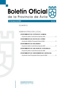Boletín Oficial de la Provincia del viernes, 27 de marzo de 2020
