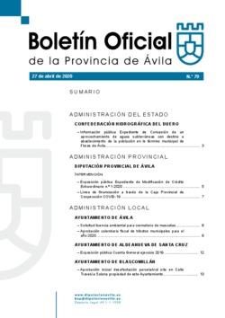 Boletín Oficial de la Provincia del lunes, 27 de abril de 2020