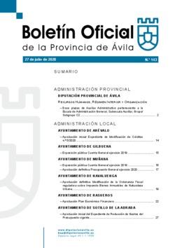 Boletín Oficial de la Provincia del lunes, 27 de julio de 2020