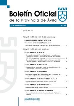 Boletín Oficial de la Provincia del jueves, 27 de agosto de 2020