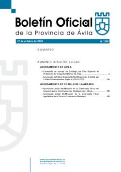 Boletín Oficial de la Provincia del martes, 27 de octubre de 2020