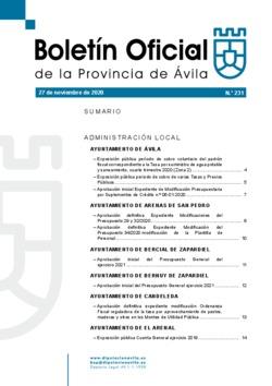 Boletín Oficial de la Provincia del viernes, 27 de noviembre de 2020