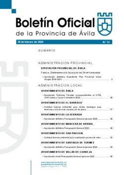 Boletín Oficial de la Provincia del viernes, 28 de febrero de 2020