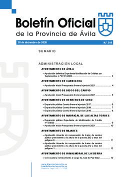 Boletín Oficial de la Provincia del lunes, 28 de diciembre de 2020