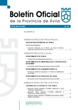 Boletín Oficial de la Provincia del miércoles, 29 de abril de 2020