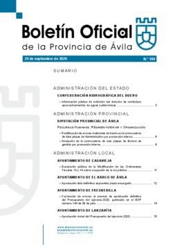 Boletín Oficial de la Provincia del martes, 29 de septiembre de 2020