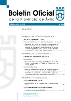 Boletín Oficial de la Provincia del jueves, 29 de octubre de 2020