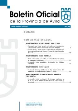Boletín Oficial de la Provincia del viernes, 30 de octubre de 2020