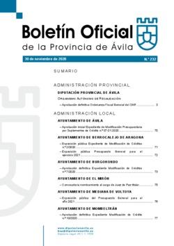 Boletín Oficial de la Provincia del lunes, 30 de noviembre de 2020