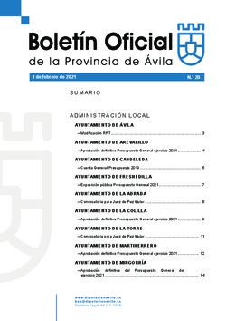 Boletín Oficial de la Provincia del lunes, 1 de febrero de 2021