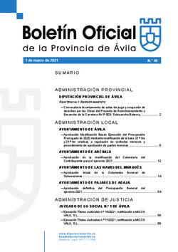 Boletín Oficial de la Provincia del lunes, 1 de marzo de 2021