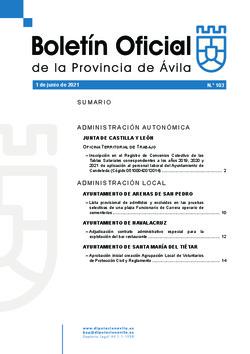 Boletín Oficial de la Provincia del jueves, 3 de junio de 2021