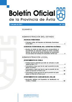 Boletín Oficial de la Provincia del jueves, 1 de julio de 2021