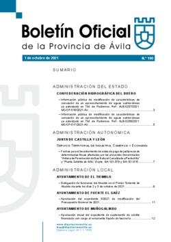 Boletín Oficial de la Provincia del viernes, 1 de octubre de 2021
