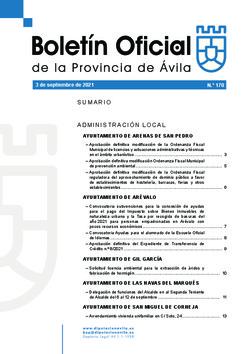 Boletín Oficial de la Provincia del viernes, 3 de septiembre de 2021