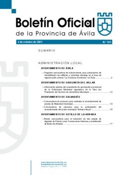 Boletín Oficial de la Provincia del lunes, 4 de octubre de 2021