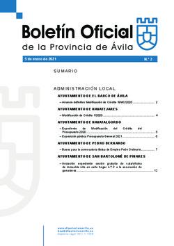 Boletín Oficial de la Provincia del martes, 5 de enero de 2021