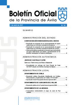 Boletín Oficial de la Provincia del lunes, 5 de abril de 2021
