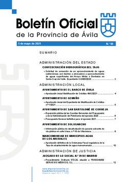 Boletín Oficial de la Provincia del miércoles, 5 de mayo de 2021