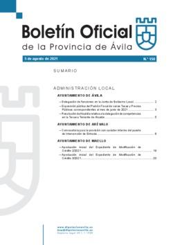 Boletín Oficial de la Provincia del jueves, 5 de agosto de 2021